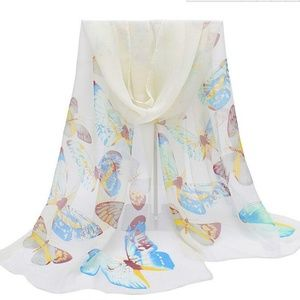 Accessories - White Chiffon Blue Butterfly Wrap Scarf Shawl